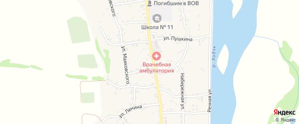 Переулок Фадеева на карте аула Ходзь с номерами домов
