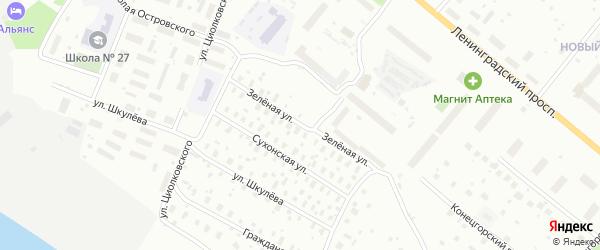 Зеленая улица на карте Архангельска с номерами домов