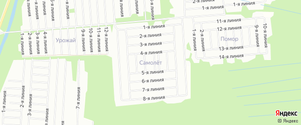 Карта садового некоммерческого товарищества Самолета в Архангельской области с улицами и номерами домов