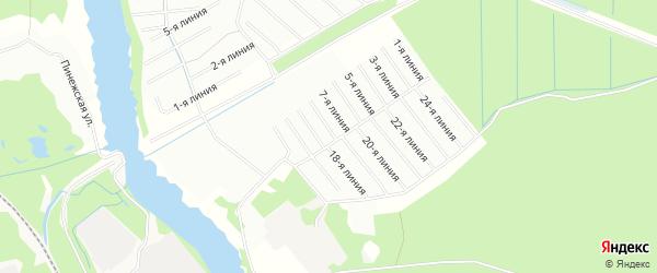 Карта садового некоммерческого товарищества Сиверка в Архангельской области с улицами и номерами домов