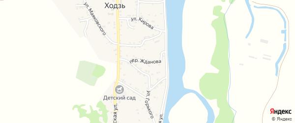 Переулок Жданова на карте аула Ходзь с номерами домов