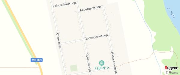 Пионерский переулок на карте Вольного села с номерами домов