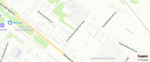 Ленинградский 1-й переулок на карте Архангельска с номерами домов