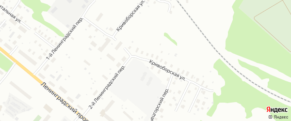 Кривоборская улица на карте Архангельска с номерами домов