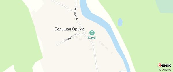 Речная улица на карте деревни Большей Орьмы с номерами домов
