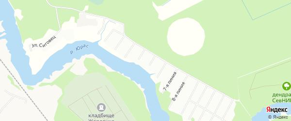 Карта поселка СНТ Ельника города Архангельска в Архангельской области с улицами и номерами домов