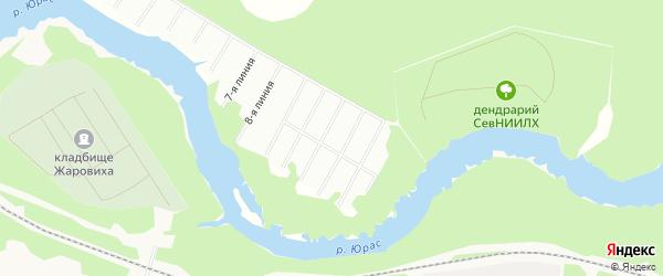 Карта садового некоммерческого товарищества Лесной полянки города Архангельска в Архангельской области с улицами и номерами домов