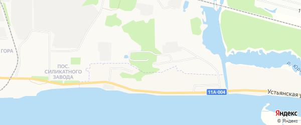 Карта поселка КИЗ Силиката 1-я линии города Архангельска в Архангельской области с улицами и номерами домов