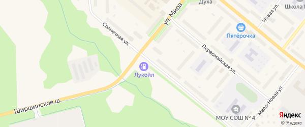 Солнечная улица на карте Новодвинска с номерами домов