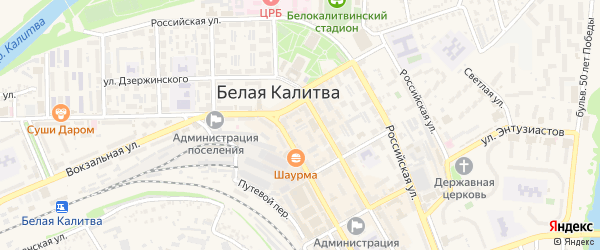 Казачий переулок на карте Белой Калитвы с номерами домов