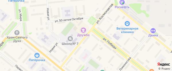 Улица Космонавтов на карте Новодвинска с номерами домов