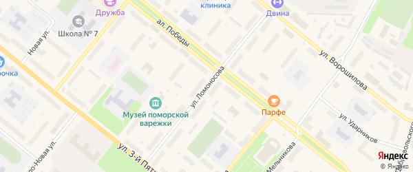 Улица Ломоносова на карте Новодвинска с номерами домов