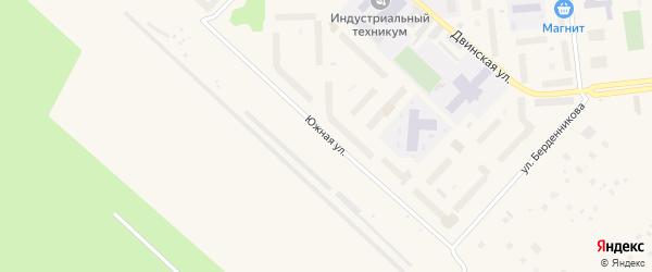 Южная улица на карте Новодвинска с номерами домов