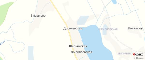 Карта Дровневской деревни в Архангельской области с улицами и номерами домов