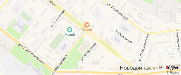 Комсомольская площадь на карте Новодвинска с номерами домов