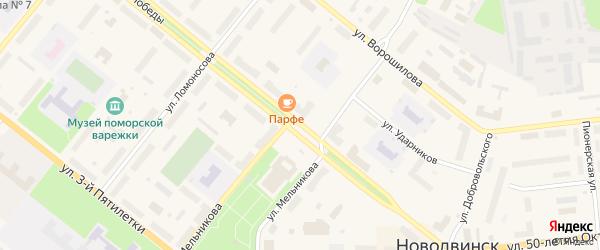 Улица 50-летия Октября на карте Новодвинска с номерами домов