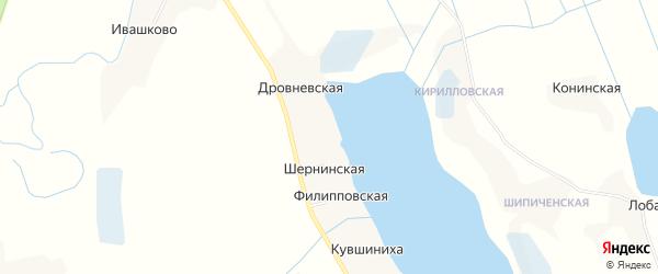 Карта Шернинской деревни в Архангельской области с улицами и номерами домов