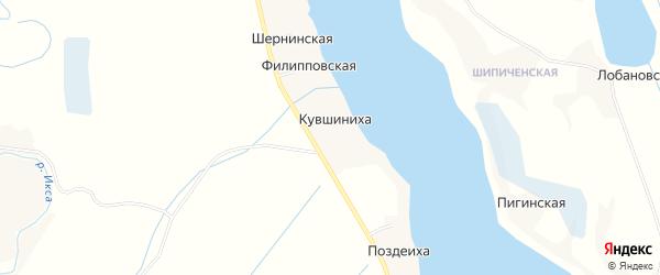 Карта деревни Кувшинихи в Архангельской области с улицами и номерами домов