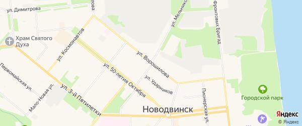 ГСК Новодвинское на карте улицы Ворошилова с номерами домов