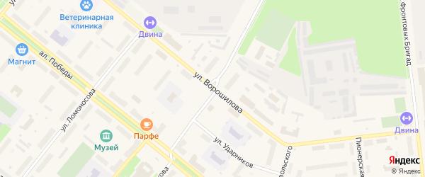 Улица Ворошилова на карте Новодвинска с номерами домов