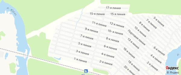 Карта садового некоммерческого товарищества Калинушки в Архангельской области с улицами и номерами домов