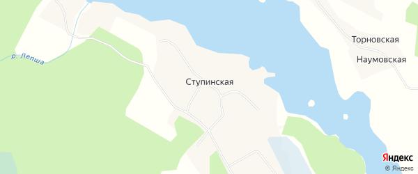 Карта Ступинской деревни в Архангельской области с улицами и номерами домов
