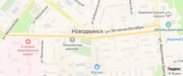 Улица Добровольского на карте Новодвинска с номерами домов