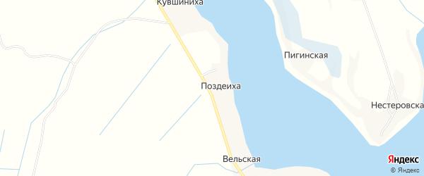 Карта деревни Поздеихи в Архангельской области с улицами и номерами домов