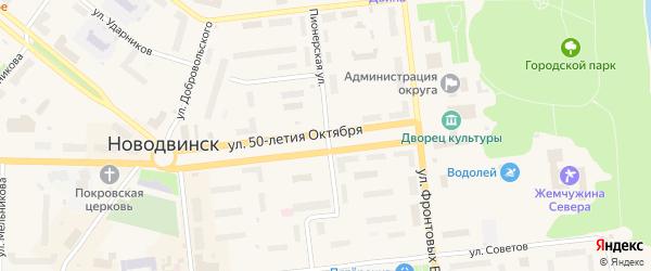 Пионерская улица на карте Новодвинска с номерами домов