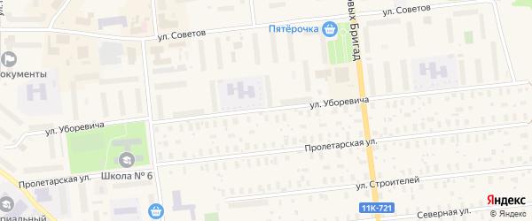Улица Уборевича на карте Новодвинска с номерами домов