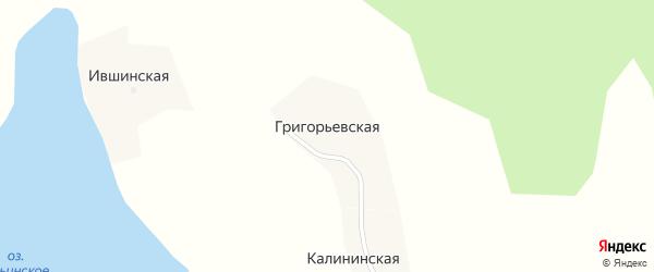Сельская улица на карте Григорьевской деревни с номерами домов