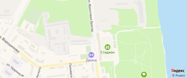 Улица Фронтовых бригад на карте Новодвинска с номерами домов