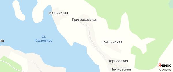 Карта Калининской деревни в Архангельской области с улицами и номерами домов