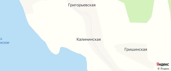 Сельская улица на карте Калининской деревни с номерами домов
