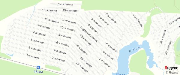 Карта садового некоммерческого товарищества Судоремонтника в Архангельской области с улицами и номерами домов
