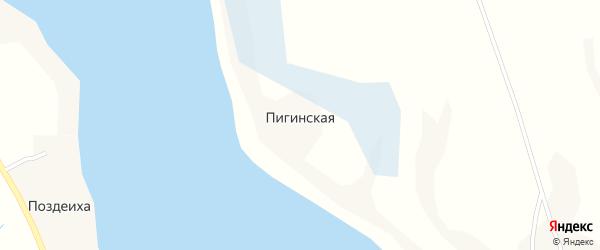 Пигинская улица на карте Пигинской деревни с номерами домов