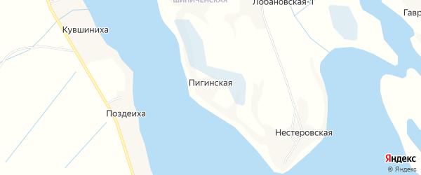 Карта Пигинской деревни в Архангельской области с улицами и номерами домов