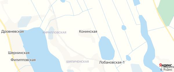 Карта Конинской деревни в Архангельской области с улицами и номерами домов