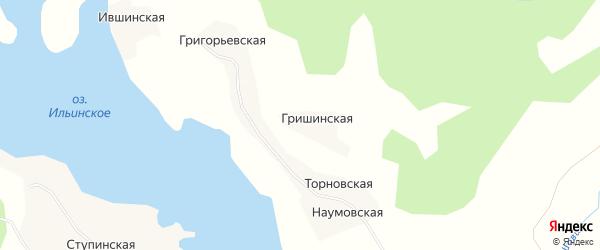 Карта Гришинская деревни в Архангельской области с улицами и номерами домов