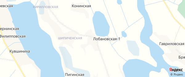Карта деревни Лобановской-1 в Архангельской области с улицами и номерами домов