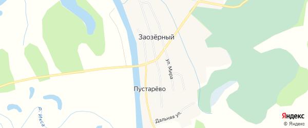 Карта деревни Пустарево в Архангельской области с улицами и номерами домов