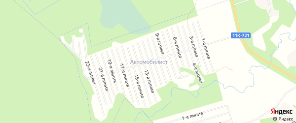 Карта садового некоммерческого товарищества Автомобилиста в Архангельской области с улицами и номерами домов