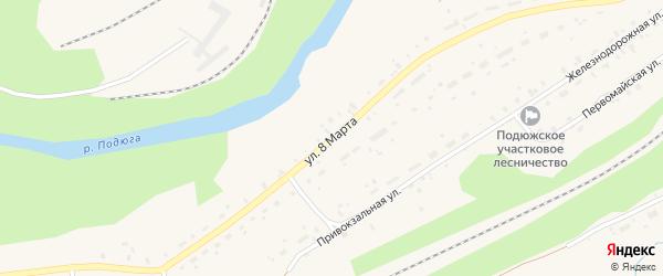 Улица 8 Марта на карте поселка Подюги с номерами домов