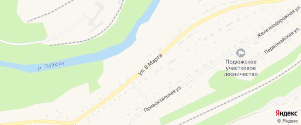 Улица 8 Марта на карте поселка Коноши с номерами домов