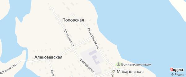 Приозерная улица на карте Макаровской деревни с номерами домов