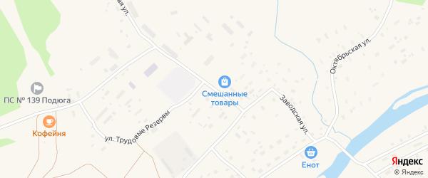 Улица Трудовые Резервы на карте поселка Подюги с номерами домов