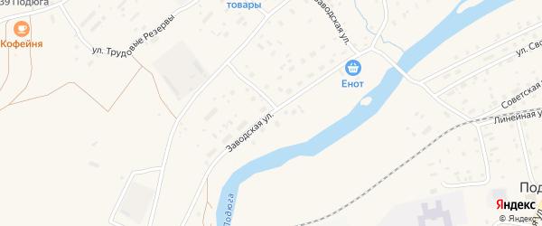 Заводская улица на карте поселка Подюги с номерами домов