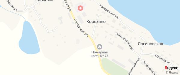 Городская улица на карте деревни Корехино с номерами домов