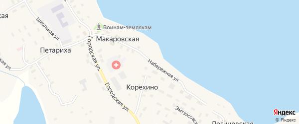 Набережная улица на карте Макаровской деревни с номерами домов