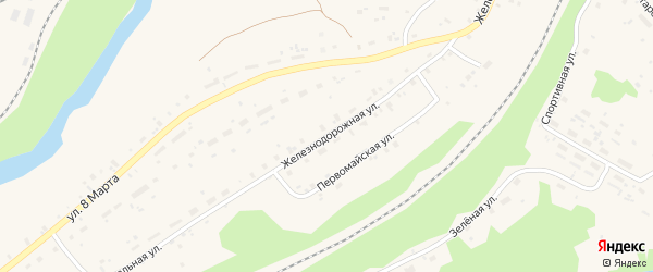 Железнодорожная улица на карте поселка Подюги с номерами домов